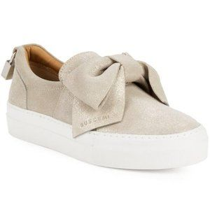 Buscemi Sparkling Suede Bow Slip-on Sneakers Grey